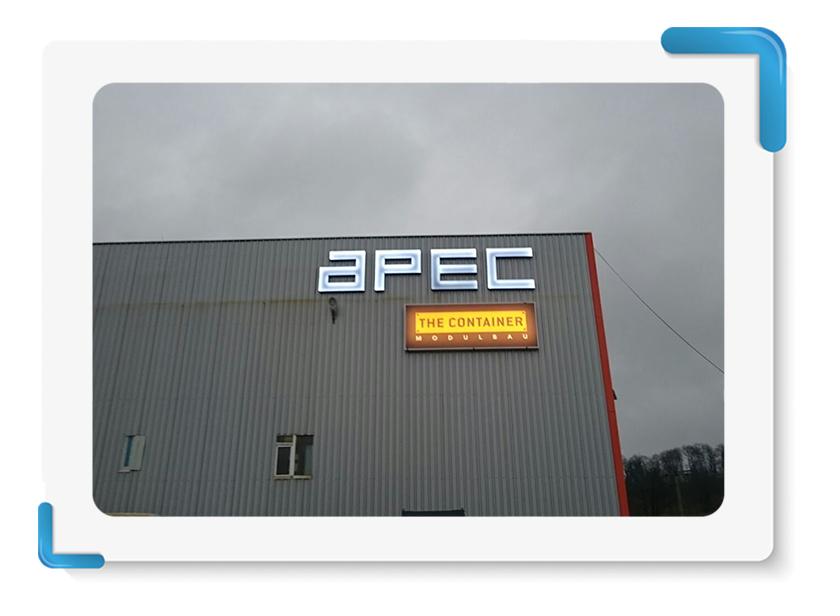 APEC Black White Işıklı Alüminyum Kutu Harf Tabela İmalatı